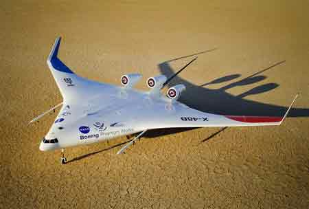Boeing X48B 'blended wing body' prototype designed by Cranfield Aerospace